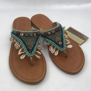 Skemo Leather Embellished Seashells Sandals Sz 9